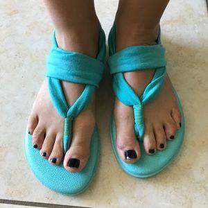 Sanuk women's teal sandals
